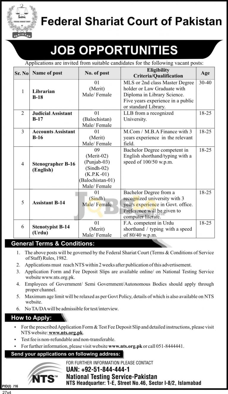 Federal Shariat Court of Pakistan NTS Jobs 2016 For Librarian Online Form Download