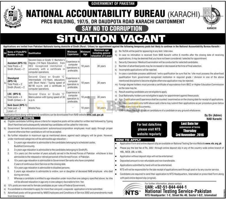 NAB Karachi Jobs 2016 For Assistant Stenotypist NTS Test & Sample Paper