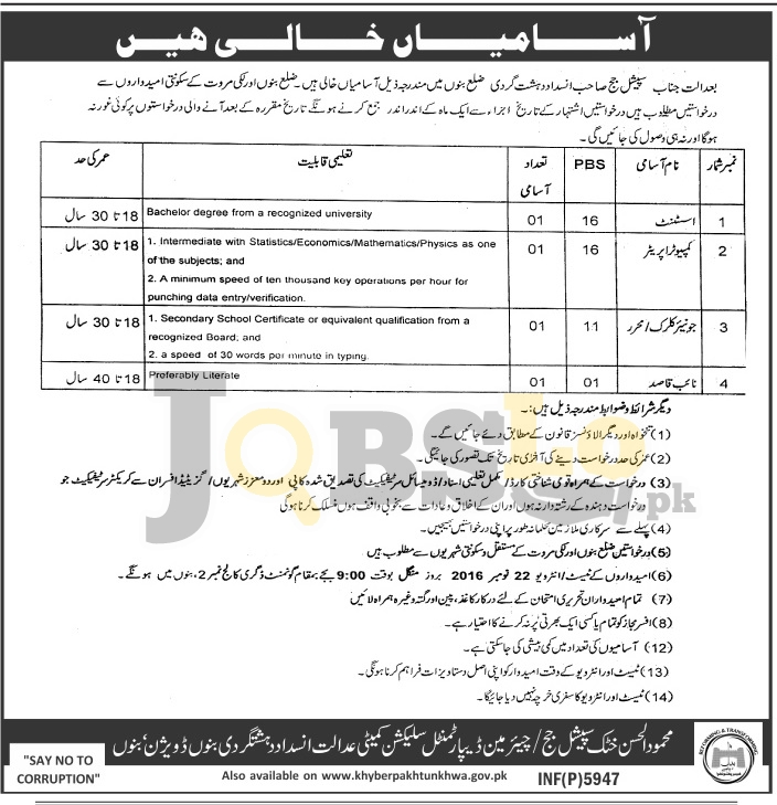 Anti Terrorism Court Bannu Jobs 2016 For Assistant Computer Operator BS-16