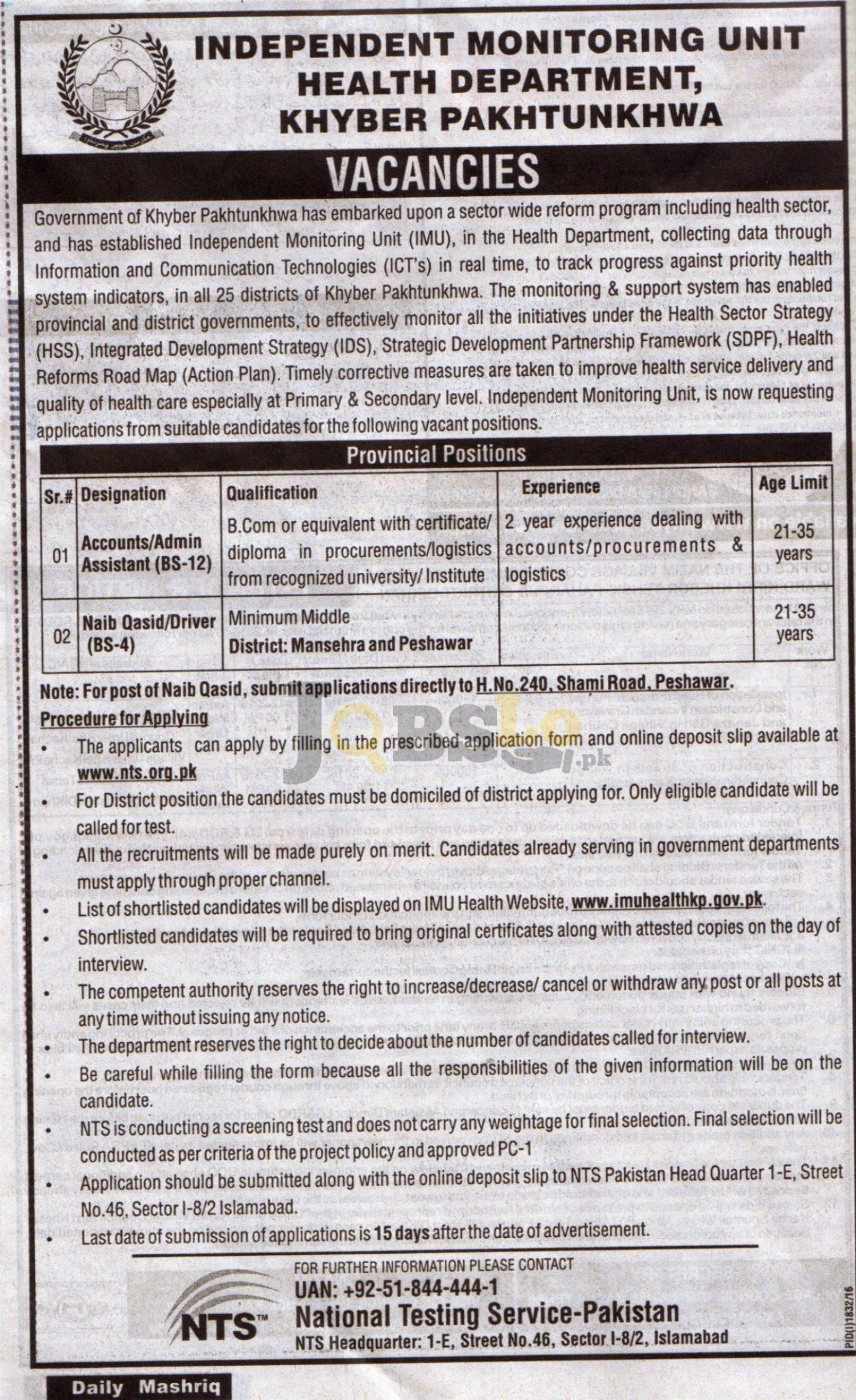 Health Dpt IMU KPK Jobs