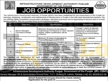 Infrastructure Development Authority Punjab Jobs 2016 Online Form Download