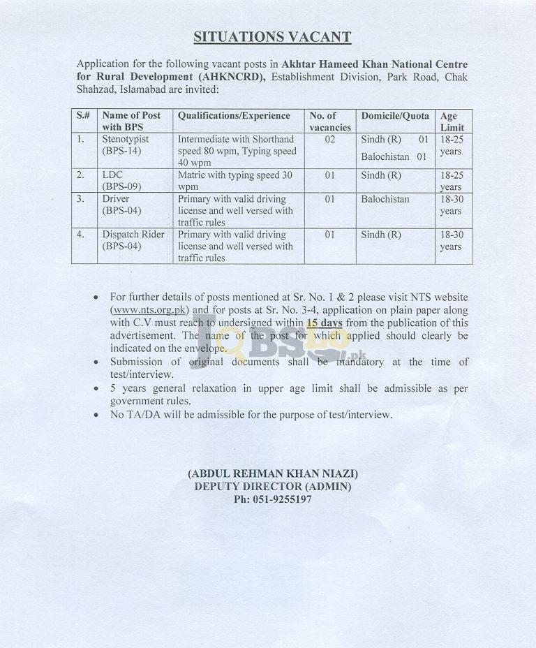 AHK NCDR Islamabad Jobs 2016 NTS Test & Roll Number Slips