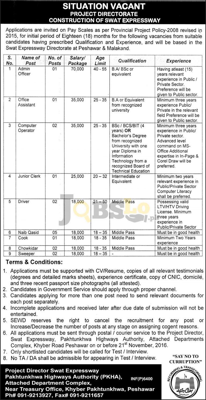 Construction of Swat Expressway Peshawar & Malakand Jobs 2016 Career Offers