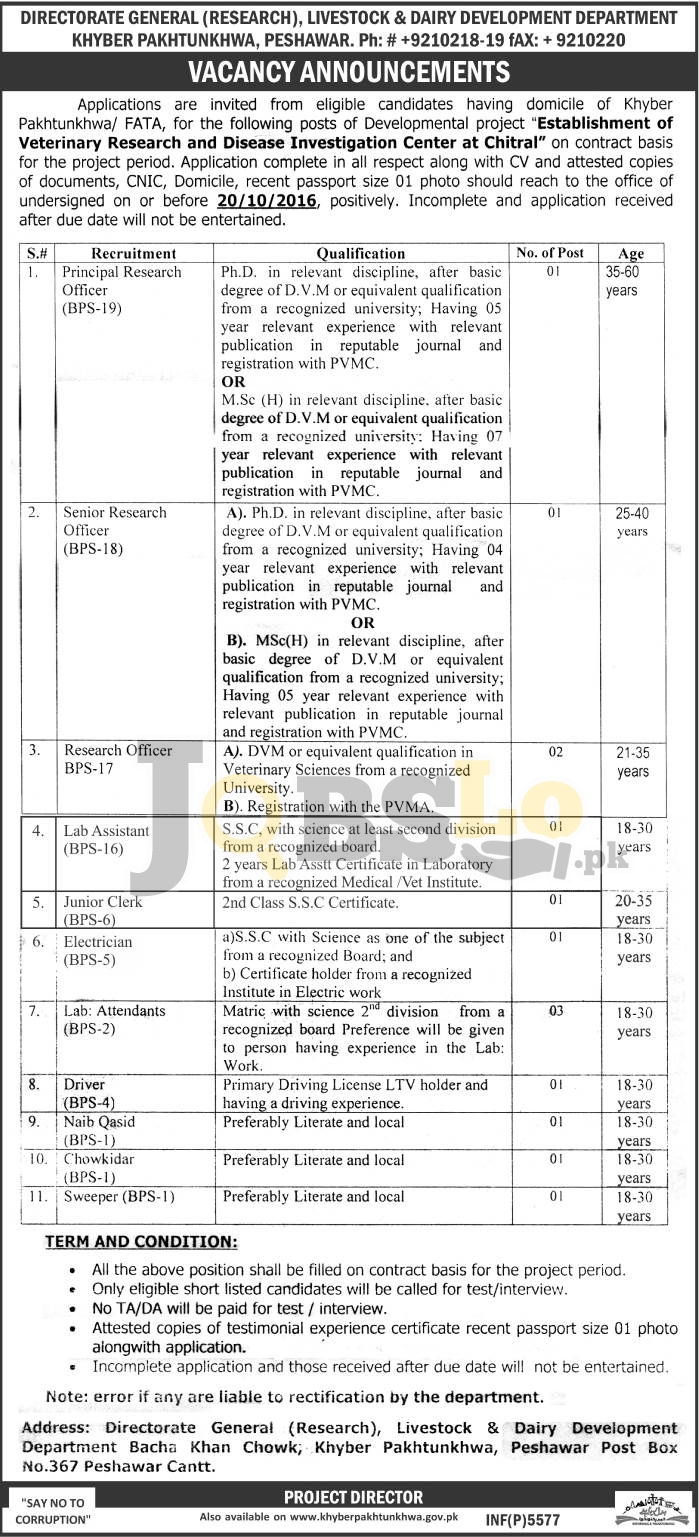 Research Officer Jobs 2016 in Livestock and Dairy Development Department KPK