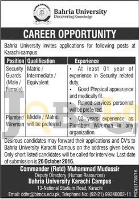 Bahria University Karachi jobs