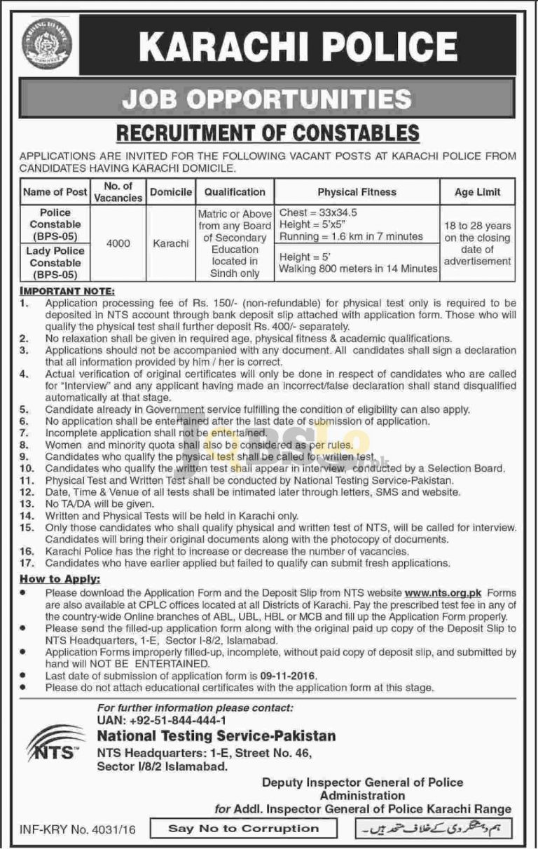 Karachi Police Jobs 2016 for Male & Female Constable NTS Online Application Form