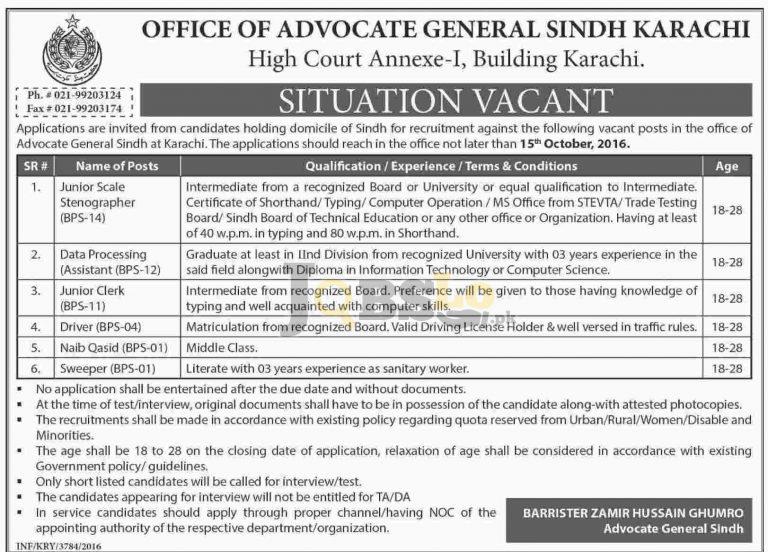 Office of Advocate General Sindh Karachi Jobs 2016 For Junior Clerk Eligibility Criteria