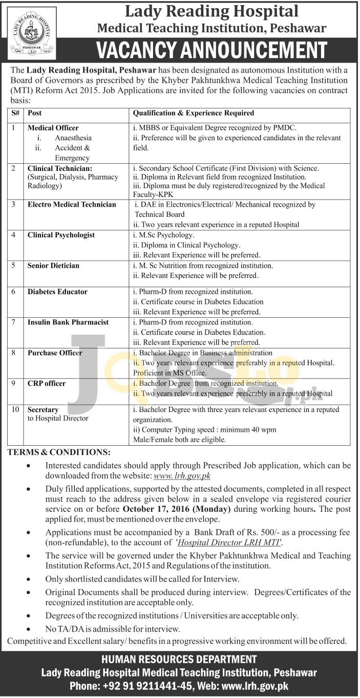 Lady Reading Hospital MTI Peshawar Jobs 2016 Online Application Form Download