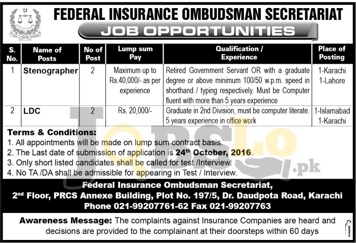 Federal Insurance Ombudsman Secretariat Karachi Jobs