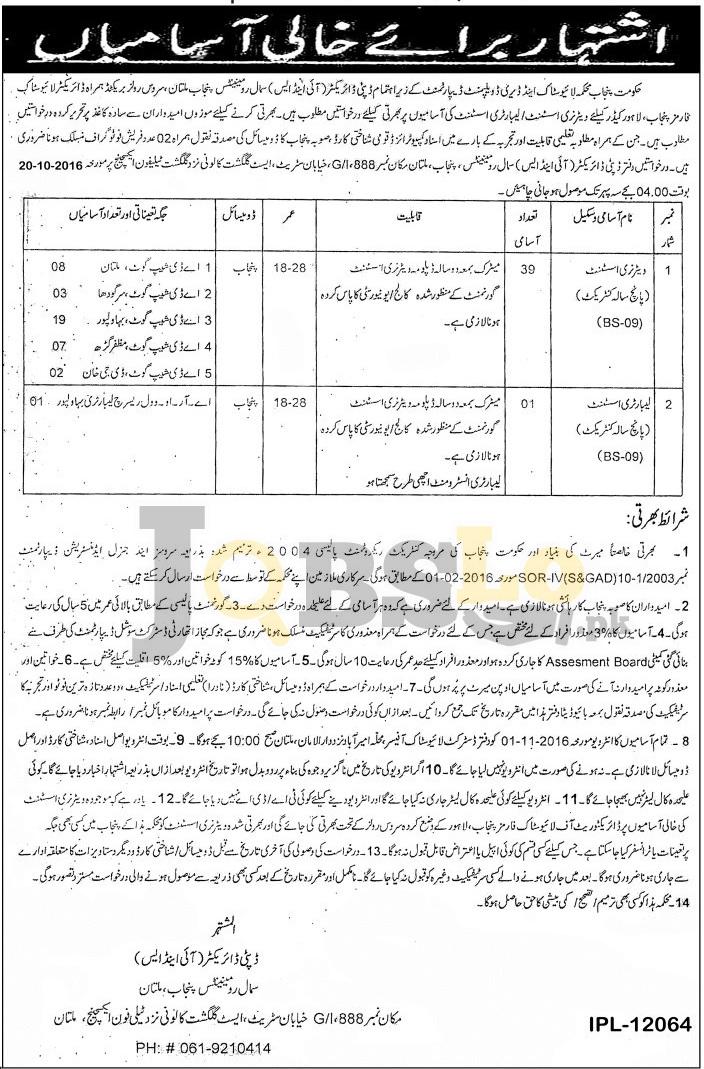 Livestock & Dairy Development Department Lahore Jobs 2016 For BPS-09