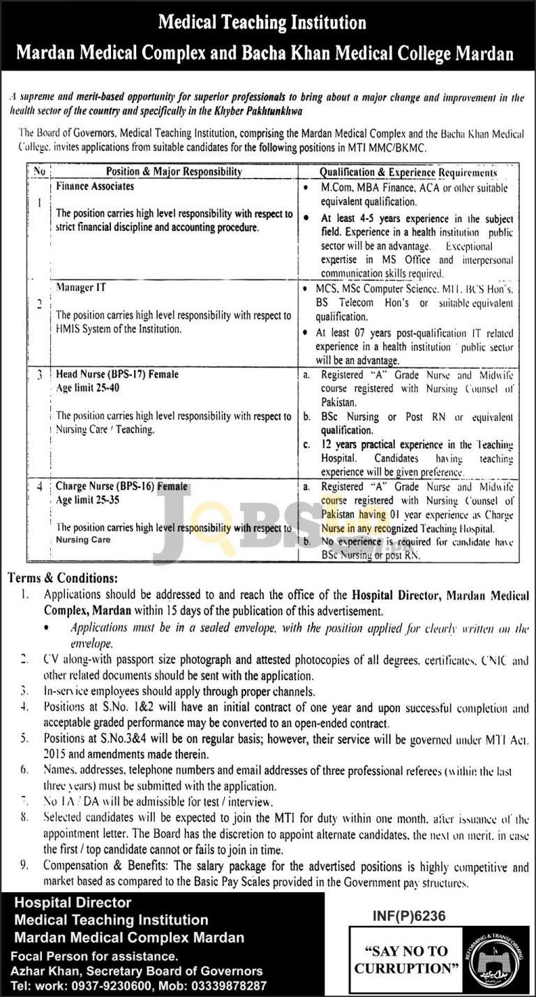 Mardan Medical Complex & Bacha Khan Medical College Jobs 2016 Career Offers