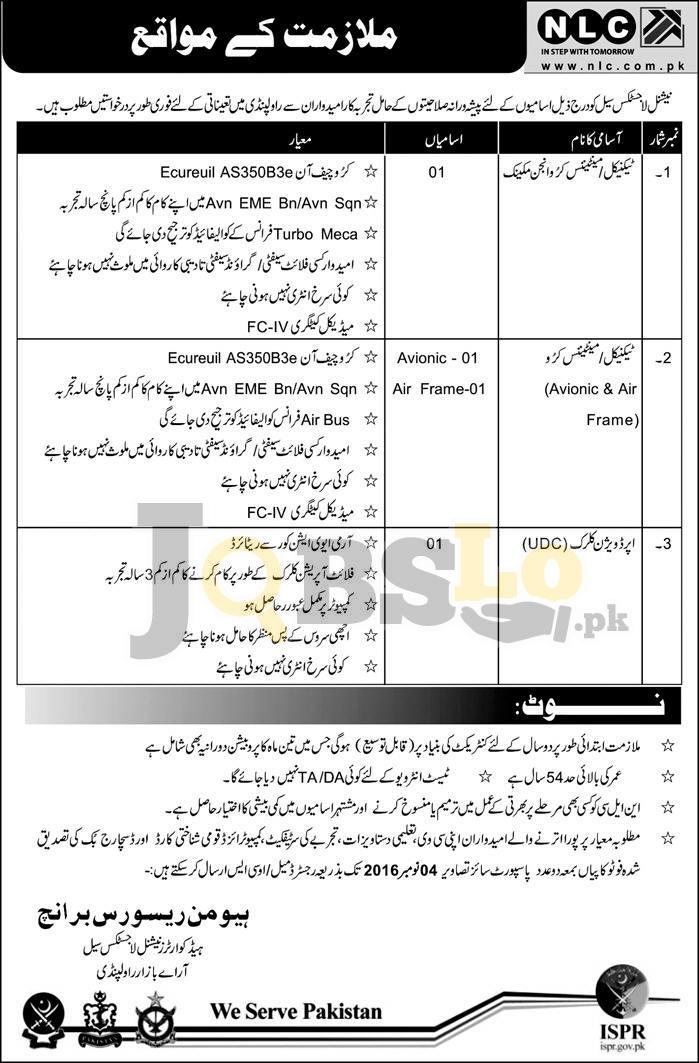 National Logistic Cell Rawalpindi Jobs 2016 Advertisement Latest