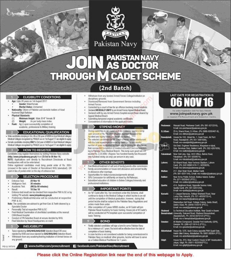 Join Pakistan Navy as Doctor Through M Cadet Scheme 2016 Online Registration