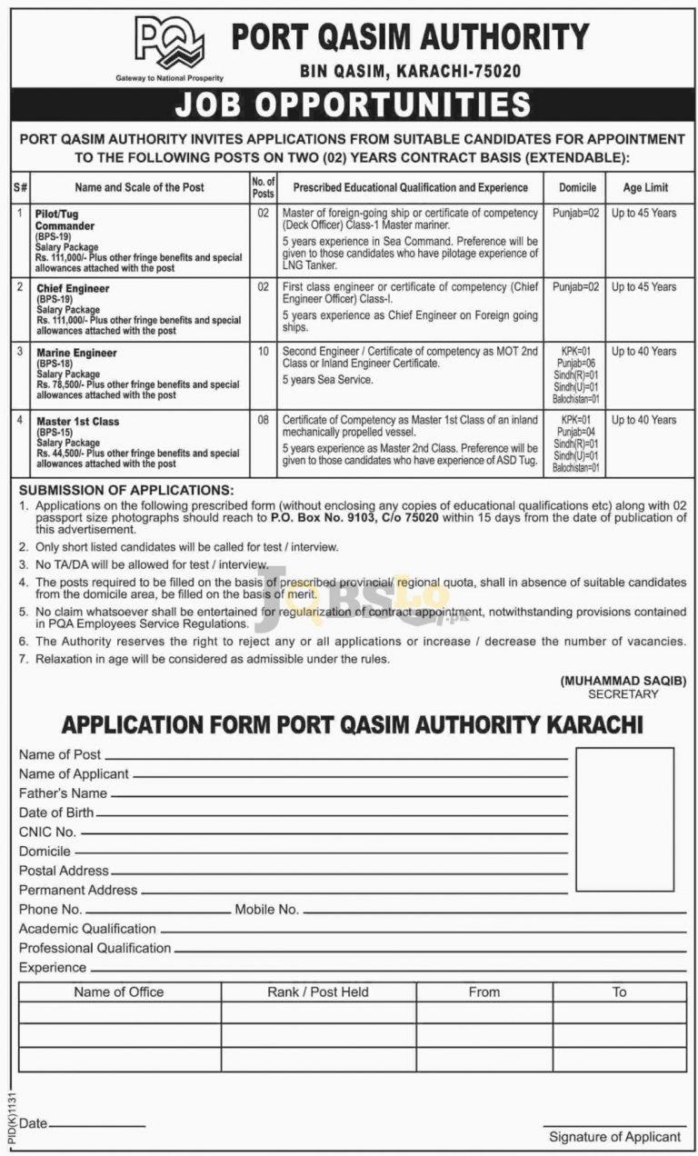 Port Qasim Authority Karachi Jobs 2016 For Chief Engineer Eligibility Criteria