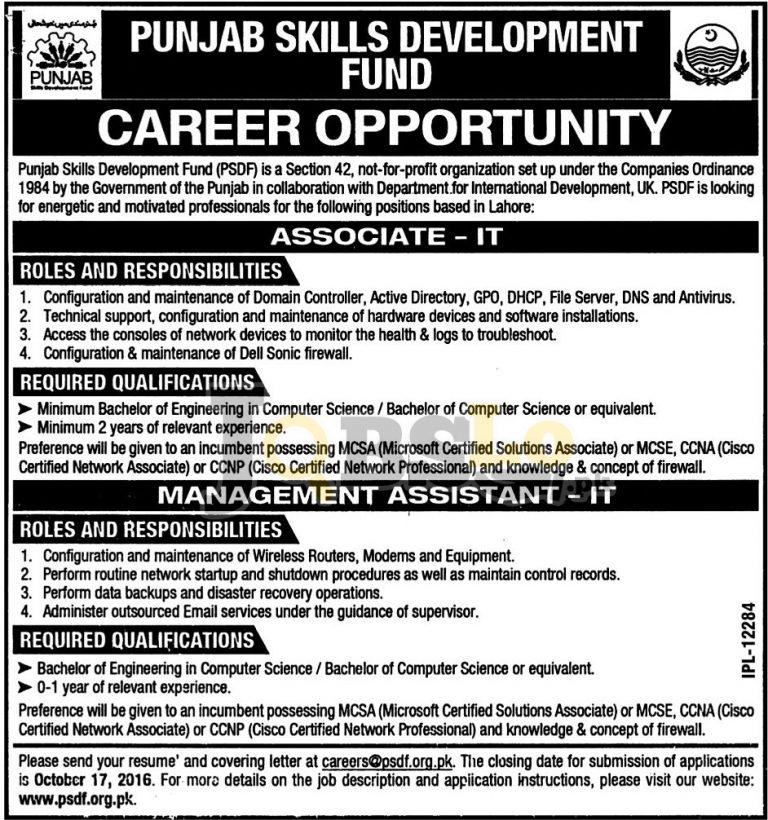 Punjab Skills Development Fund Lahore Jobs 2016 Apply Online Latest