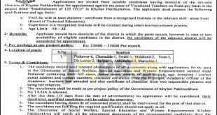Social Welfare Special Education & Women Empowerment Department KPK Jobs