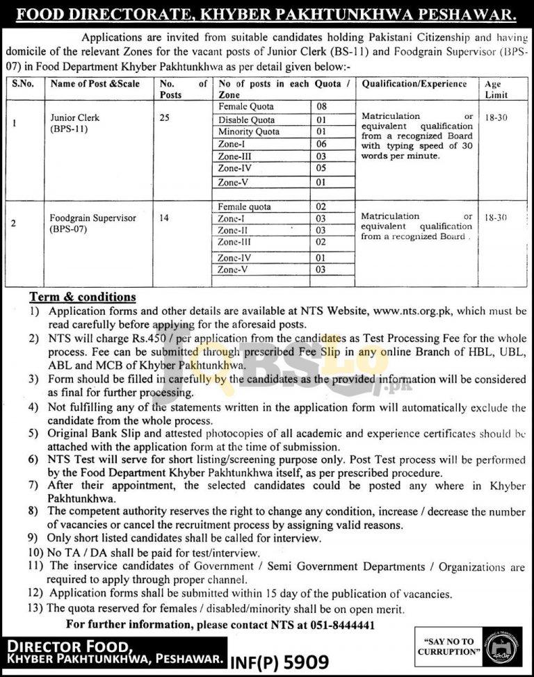 Food Directorate KPK NTS Jobs 2016 Online Application Form Download