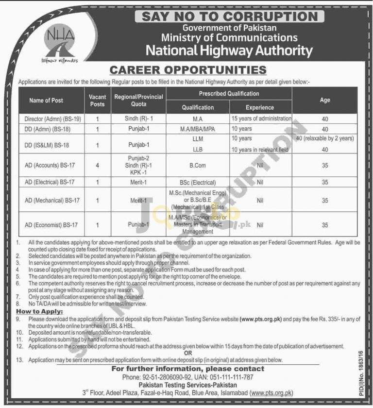 NHA Jobs Oct 2016 PTS Online Application Form Download pts.org.pk