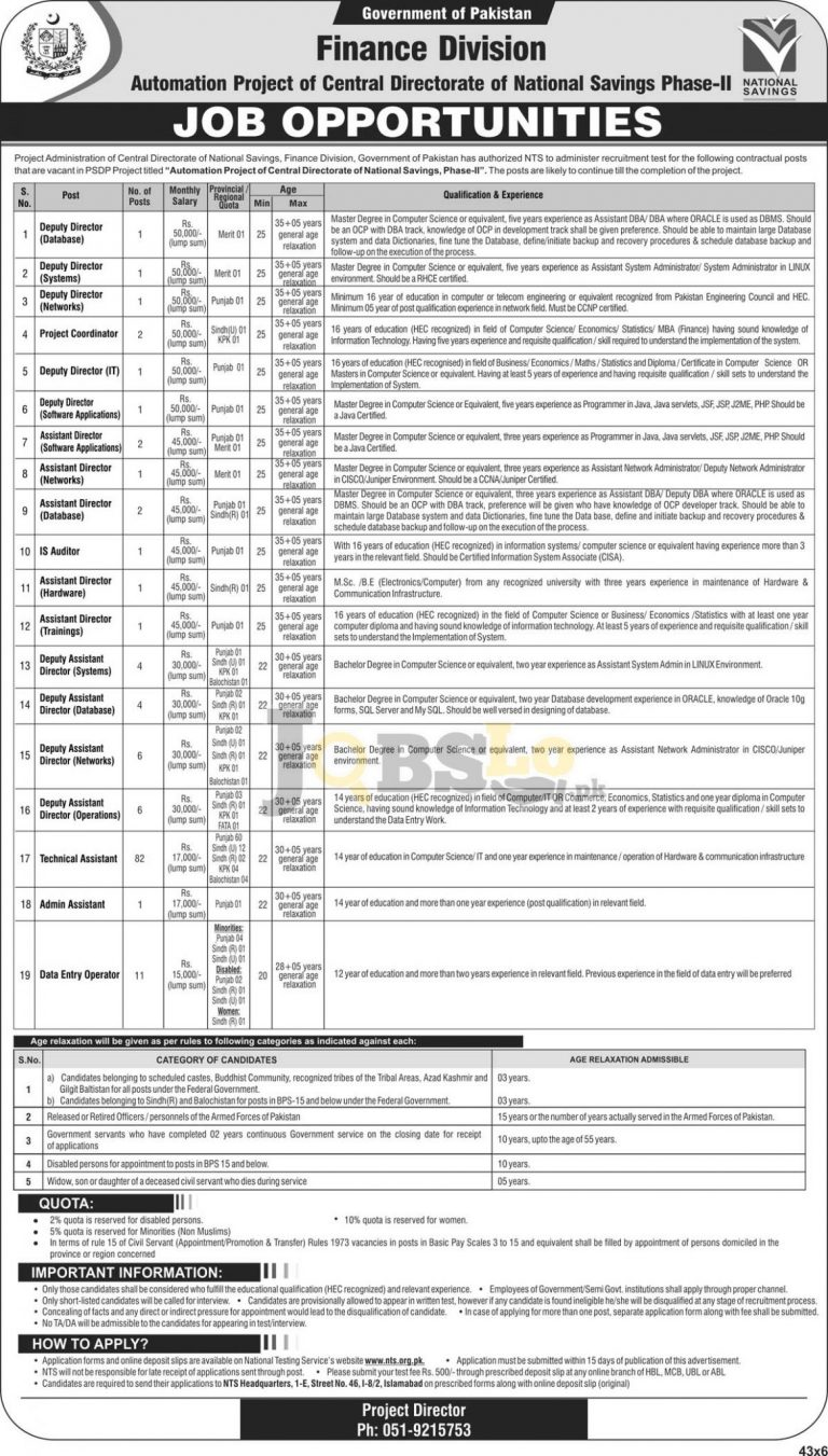 Deputy Director Networks Jobs 2016 Finance Division National Savings NTS Online Form