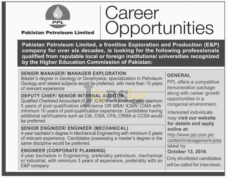 PPL Jobs Oct 2016 Latest Advertisement Apply Online Last Date