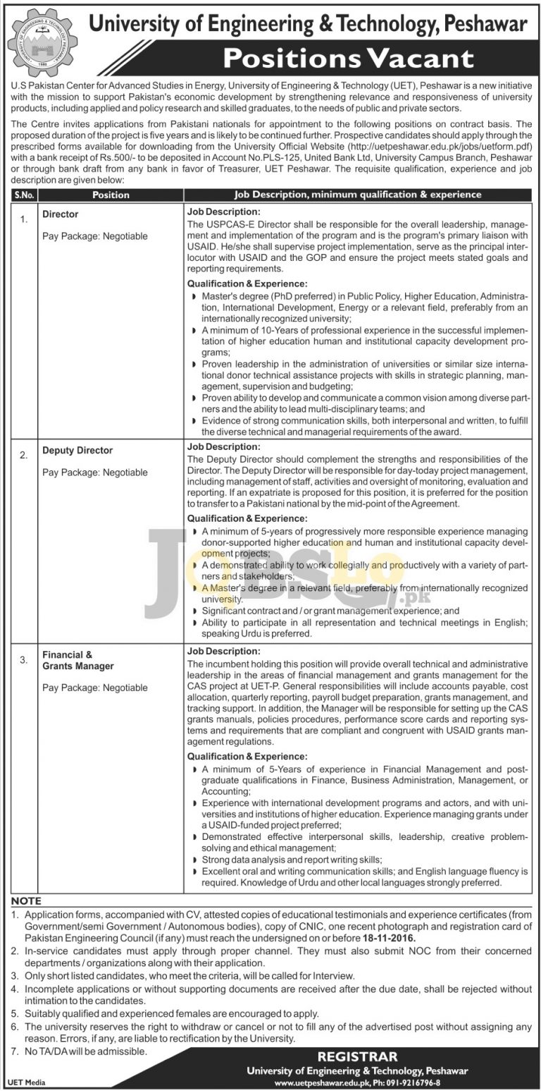 University of Engineering and Technology Peshawar jobs 2016 Current Openings