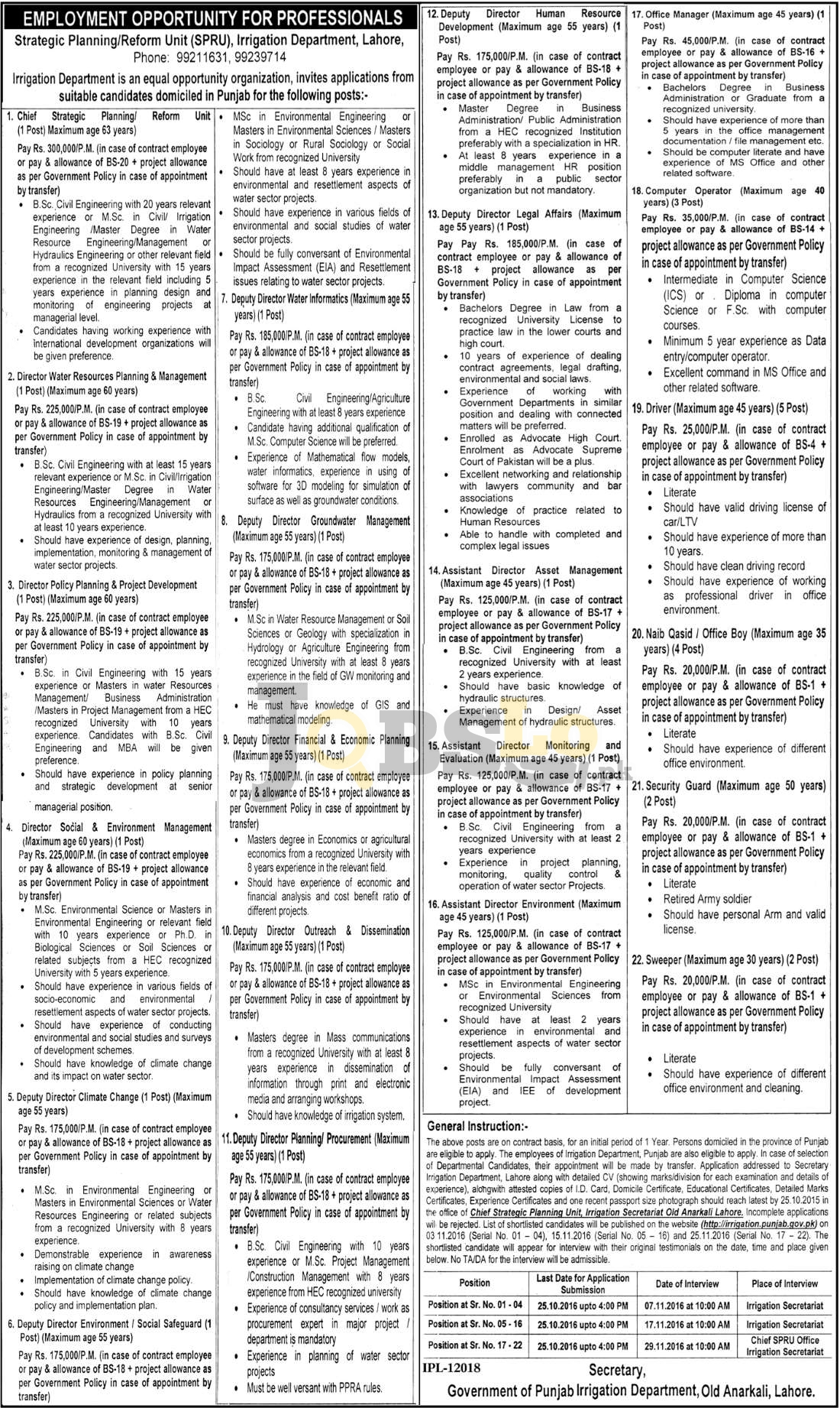 Irrigation Dpt Jobs