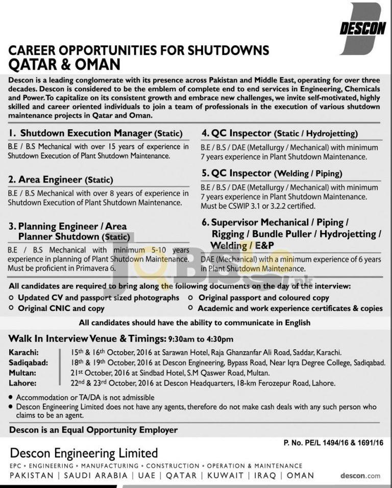 Descon Engineering Limited Jobs October 2016 Qatar & Oman Current Vacancies