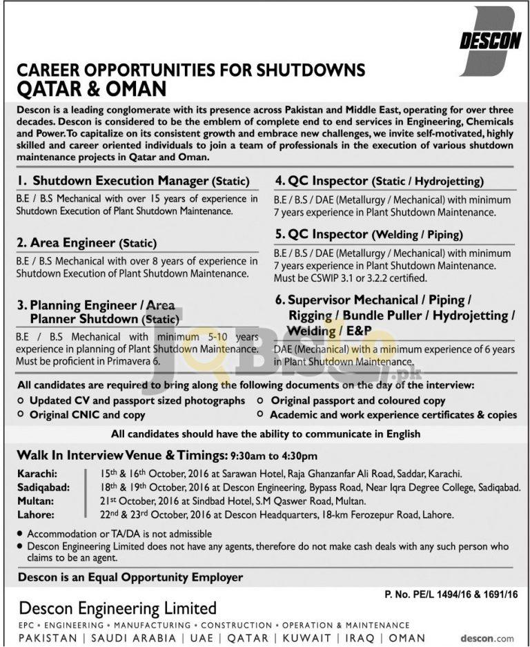 Descon Engineering Limited Qatar & Oman Jobs 2016 Walk In Interview Schedule