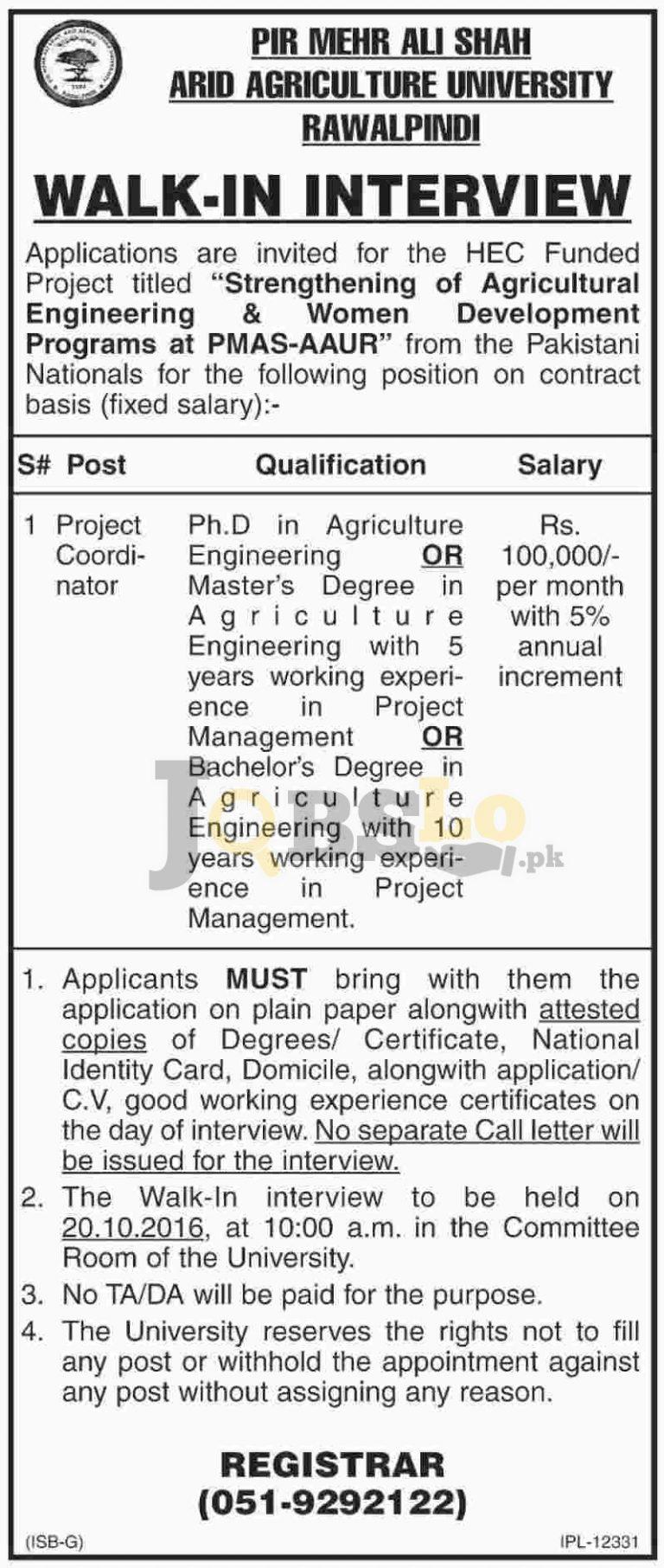 PMS Arid Agriculture University Rawalpindi Jobs 2016 For Project Coordinator