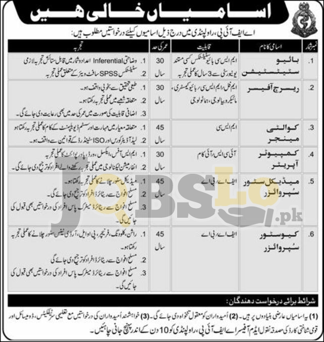 AFIP Rawalpindi Jobs 2016 Armed Forces Institute of Pathology Latest Add