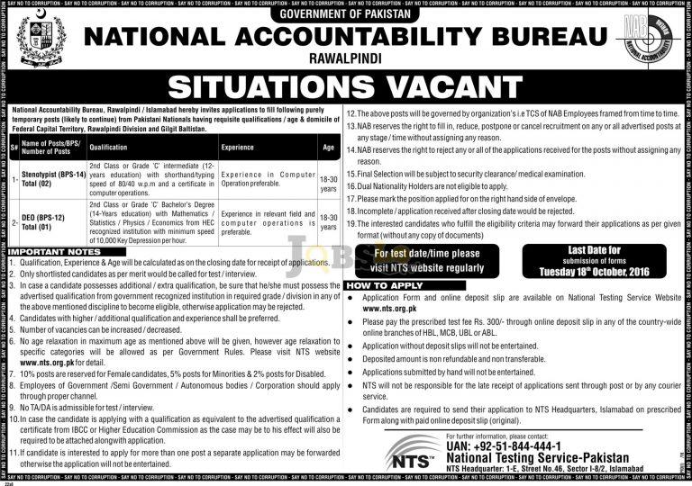 NAB Rawalpindi Jobs Oct 2016 NTS Application Form Download