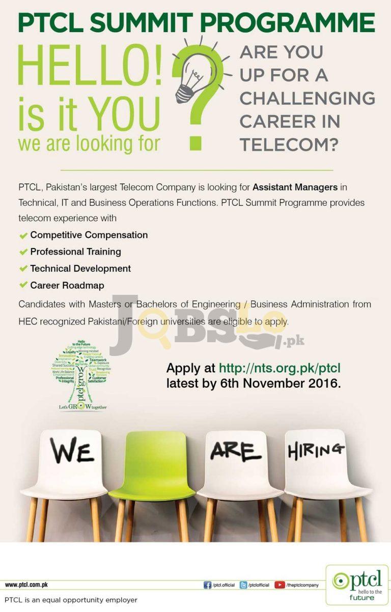 PTCL Summit Program Jobs 2016 NTS Online Registration nts.org.pk