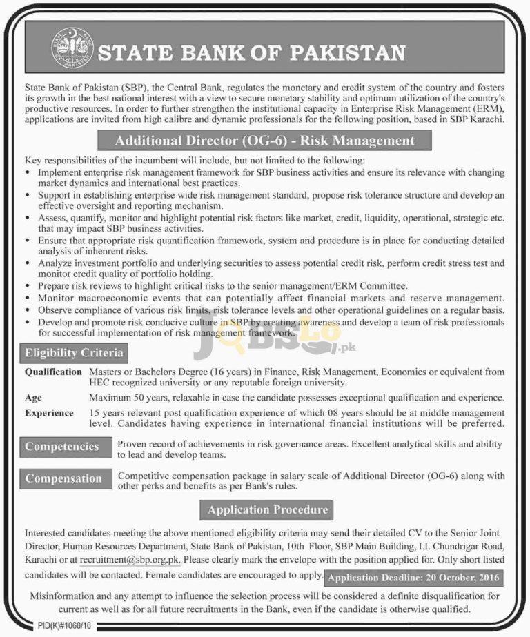 Additional Director OG-06 Risk Management Jobs 2016 in SBP Karachi Current Vacancies