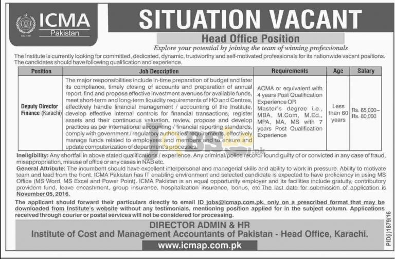 ICMA Karachi Jobs 2016 Institute of Cost and Management Accountant of Pakistan Apply Online