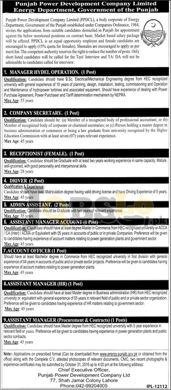 Punjab Power Development Company Jobs Oct 2016 Download Application Form Online