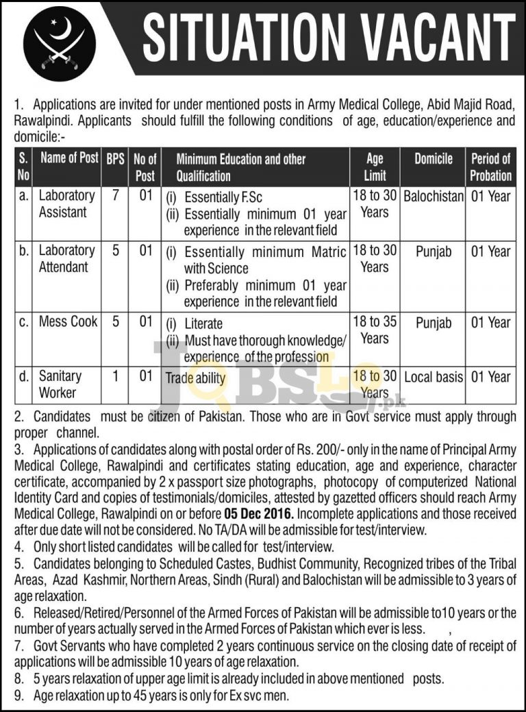 Army Medical College Rawalpindi Jobs 2016 For Non-Teaching Staff Required
