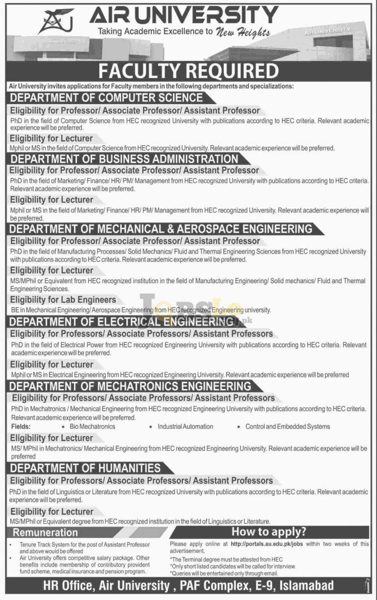 Air University Islamabad Jobs 2016 Apply Online Last Date