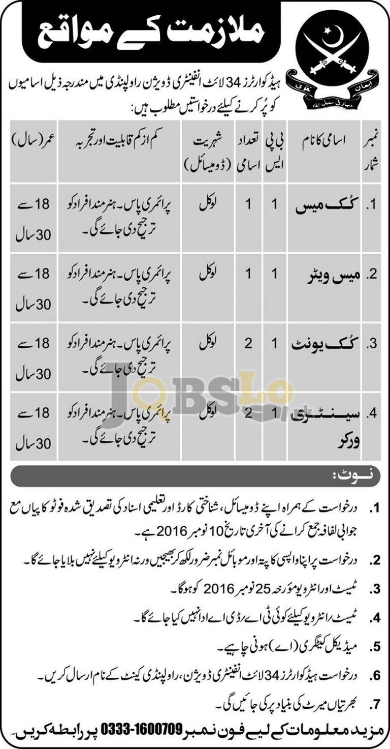 Headquarters 24 Light Infantry Division Rawalpindi Jobs 2016 Current Vacancies