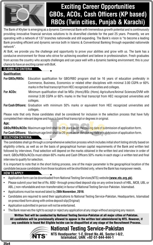 Bank of Khyber BOK Jobs 2016 NTS Application Form & Sample Paper Download