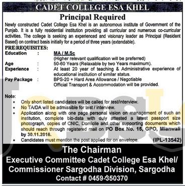 Cadet College Isakhel Jobs 2016 November Advertisement