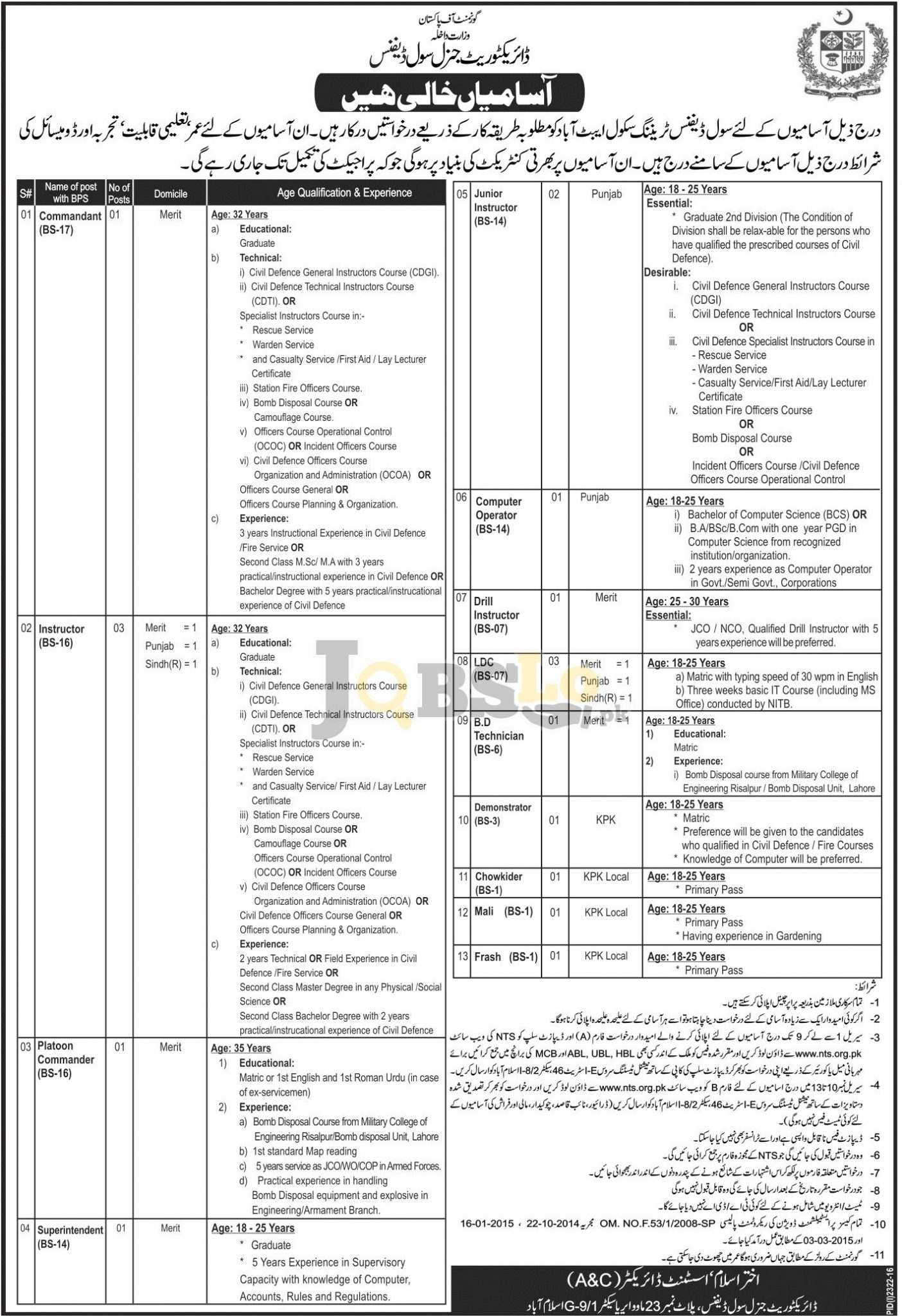 Directorate General Civil Defence Abbottabad Jobs