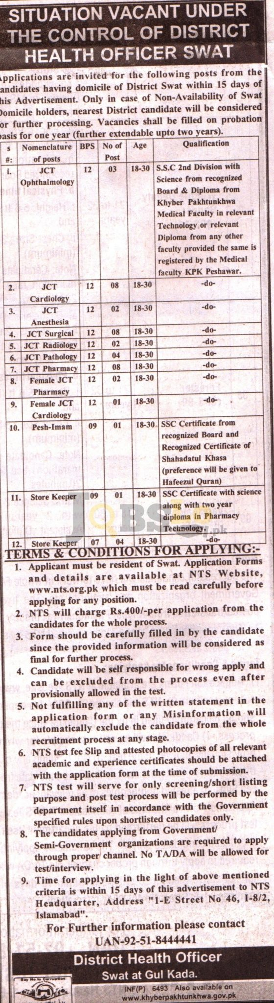 District Health Officer DHO Swat NTS Jobs 2016 Online Form & Test Date