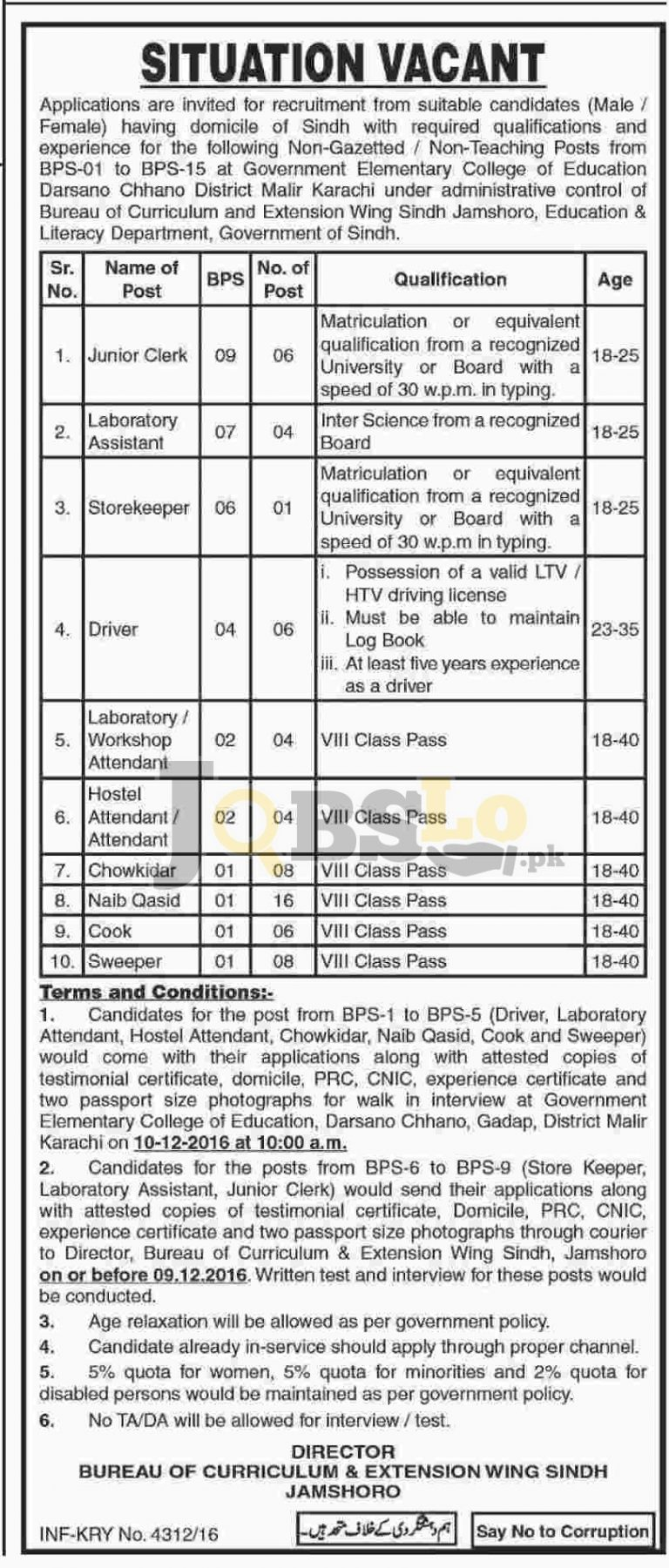 Education & Literacy Department Sindh Jobs 2016 Walk In Interview for BPS-01 to BPS-05