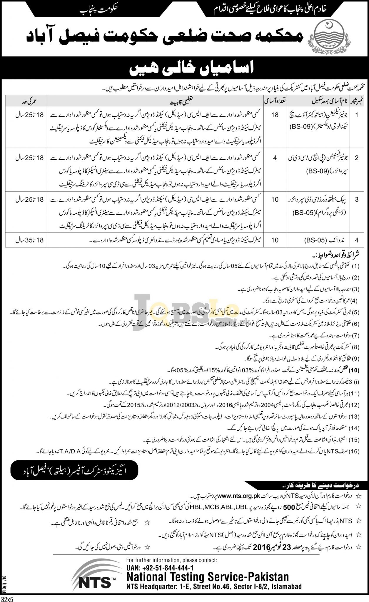 Health Department Faisalabad Jobs