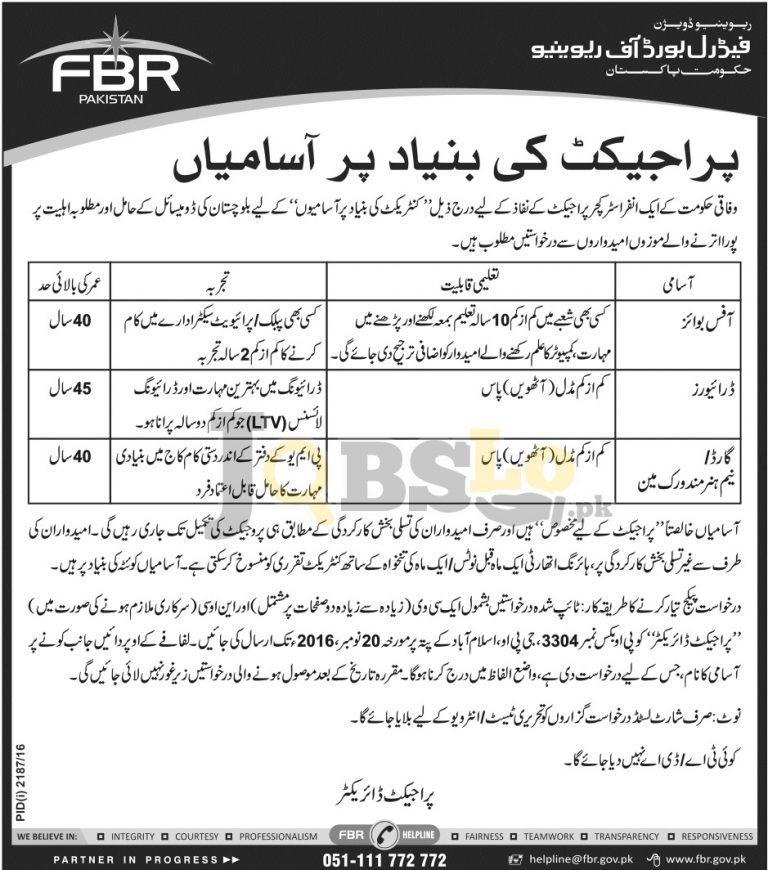 Federal Board of Revenue FBR Balochistan Jobs 2016 For Office Boys Driver