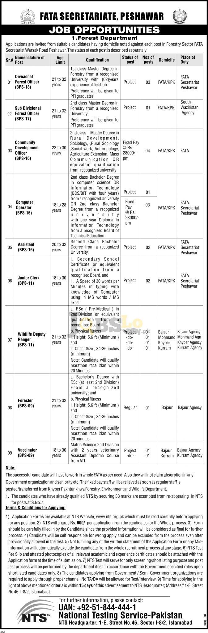 FATA Secretariat Peshawar Jobs Nov 2016 NTS Test & Sample Paper