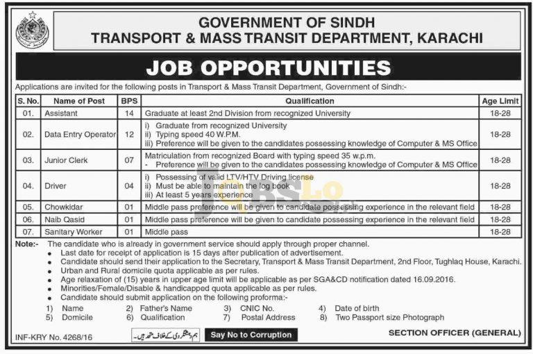 Transport and Mass Transit Department Sindh Jobs Nov 2016 Latest Add