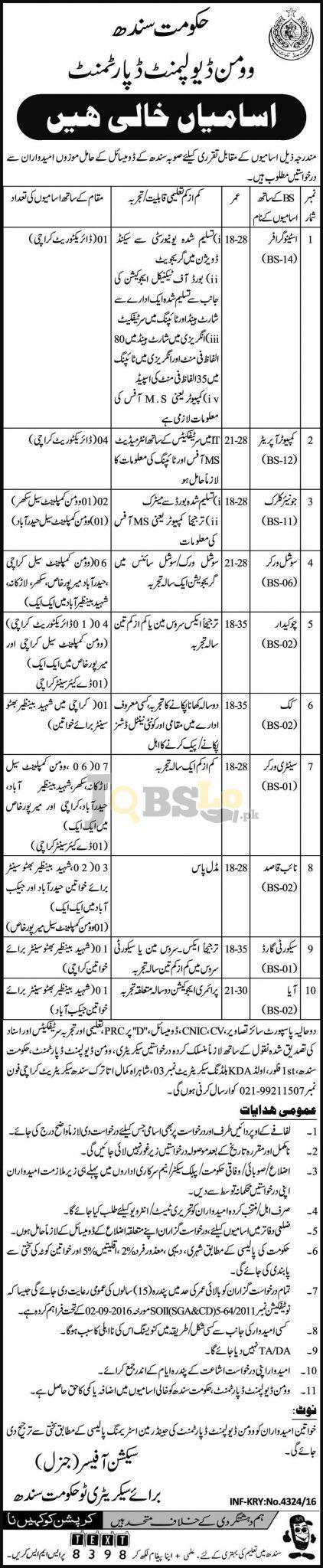 Women Development Department Sindh Jobs 2016 Advertisement Latest