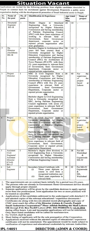 Punjab Small Industries Corporation Lahore Jobs 2016 For BPS -18 & BPS-17