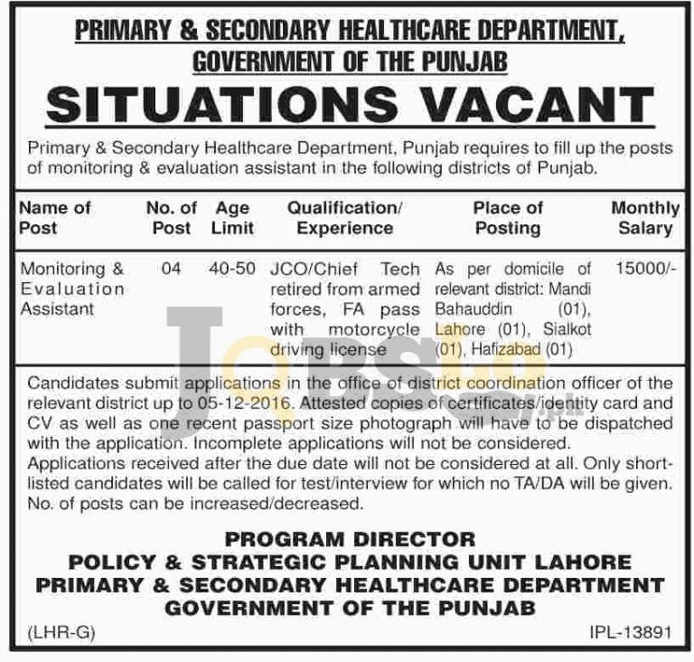 Primary & Secondary Healthcare Department Jobs 2016 Govt of Punjab Nov Add